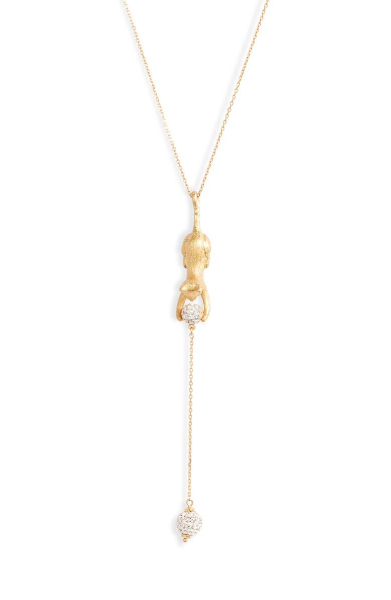 KATE SPADE NEW YORK house cat pavé Y-necklace, Main, color, 710