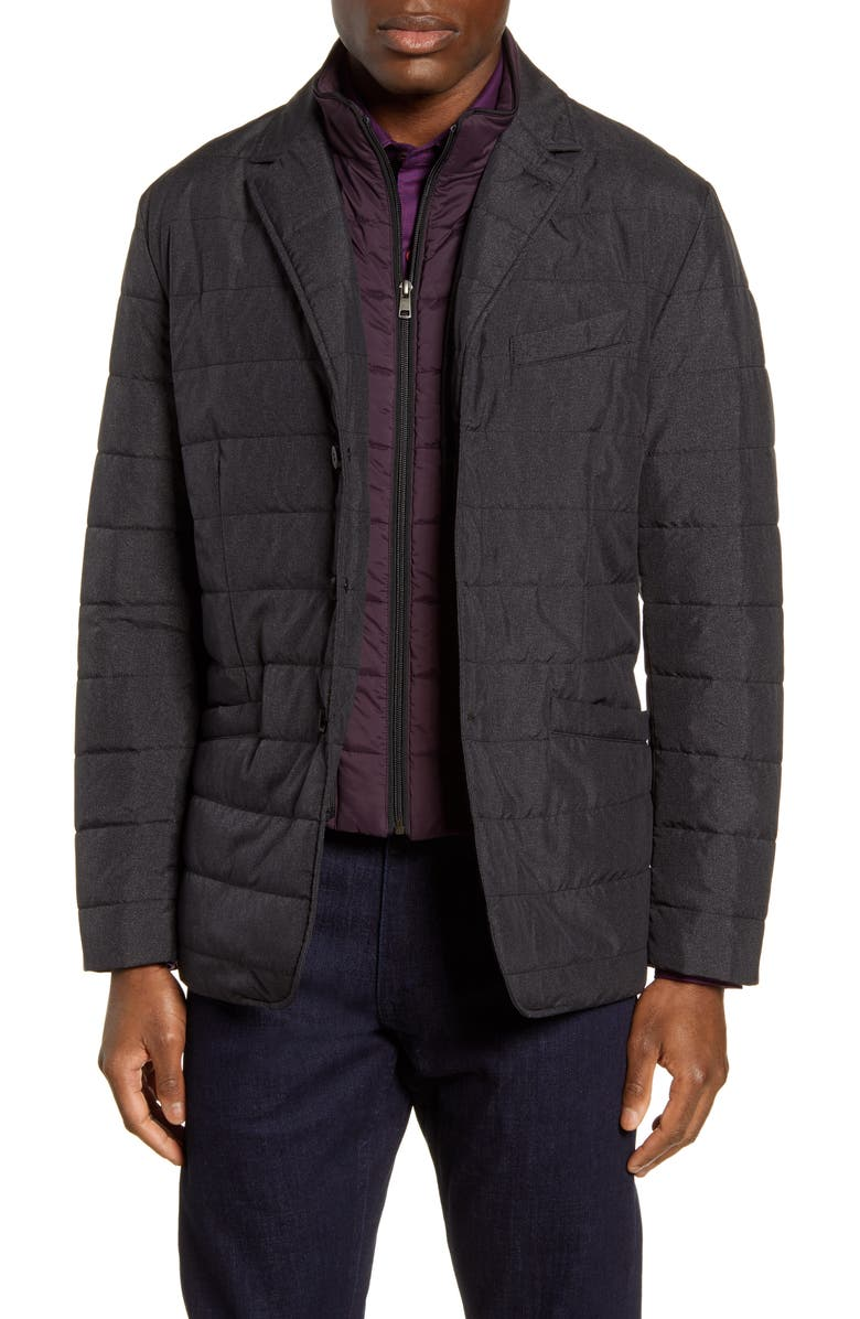 ROBERT GRAHAM Tech Downhill Regular Fit Water Resistant Quilted Jacket, Main, color, CHARCOAL