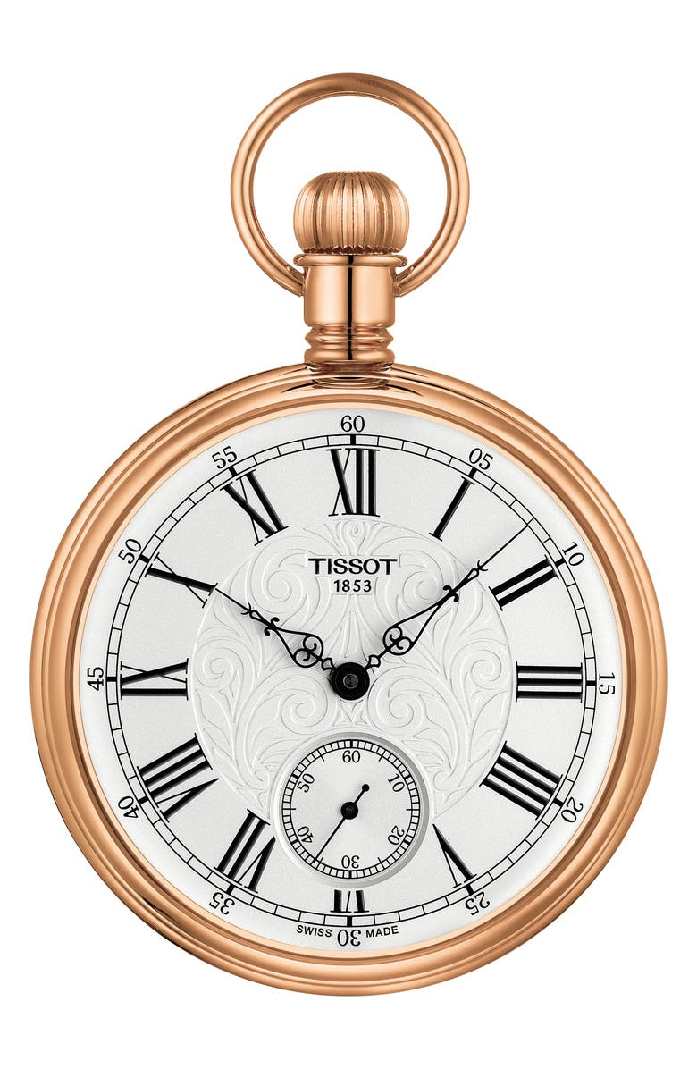 TISSOT Lepine Mechanical Pocket Watch, Main, color, WHITE/ GOLD