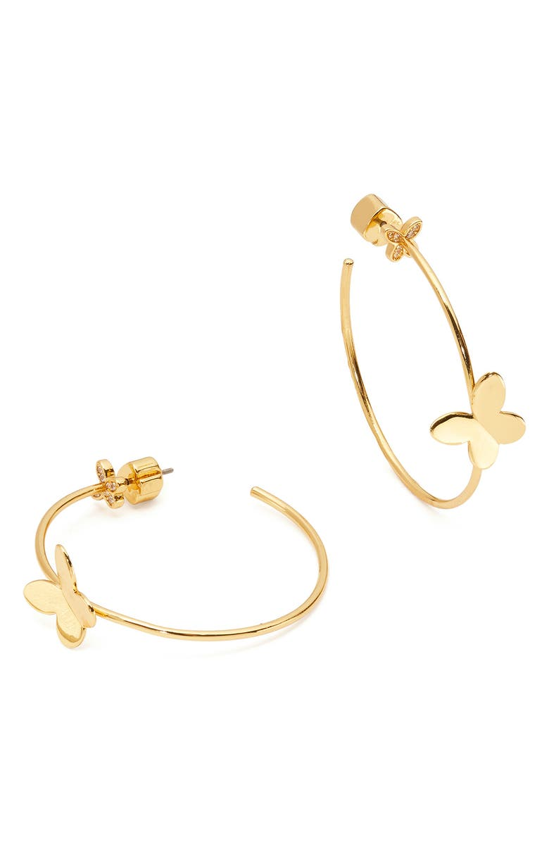 KATE SPADE NEW YORK in a flutter hoop earrings, Main, color, CLEAR/ GOLD