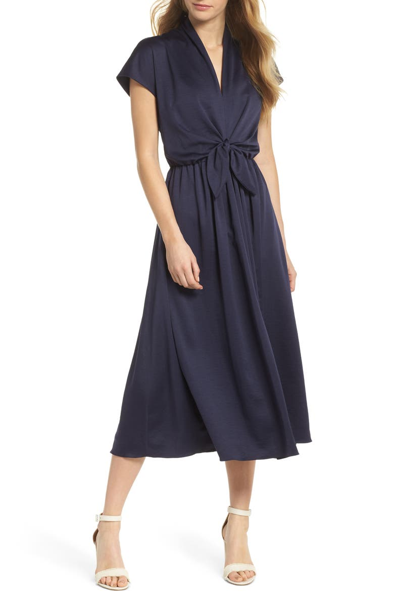 GAL MEETS GLAM COLLECTION Margie Tie Waist Satin Midi Dress, Main, color, 462