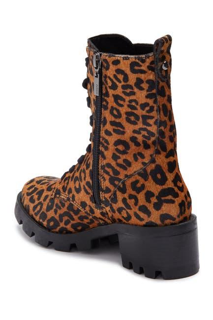 Image of Schutz Gioconda Leopard Print Lace-Up Boot