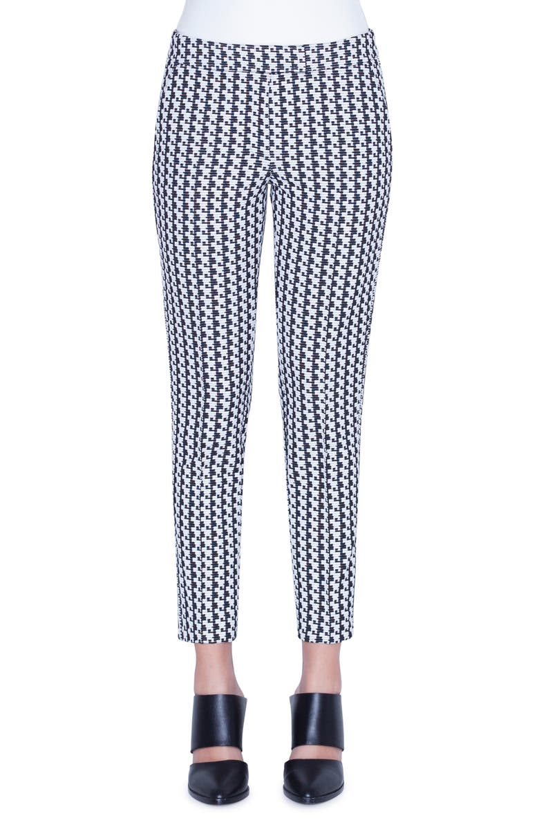 AKRIS PUNTO Frankie Soundboard Pattern Pants, Main, color, BLACK/ CREAM