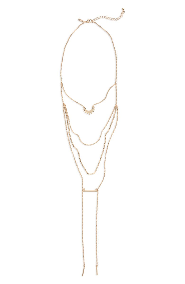 TOPSHOP Spike Bar Multi Row Necklace, Main, color, 710