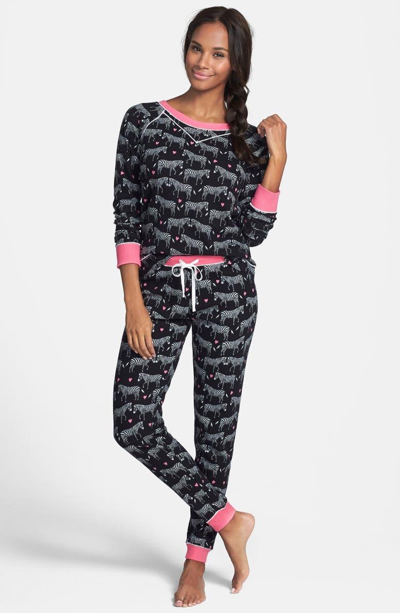 KENSIE Cozy Appliqué Thermal Pajamas, Main, color, 019