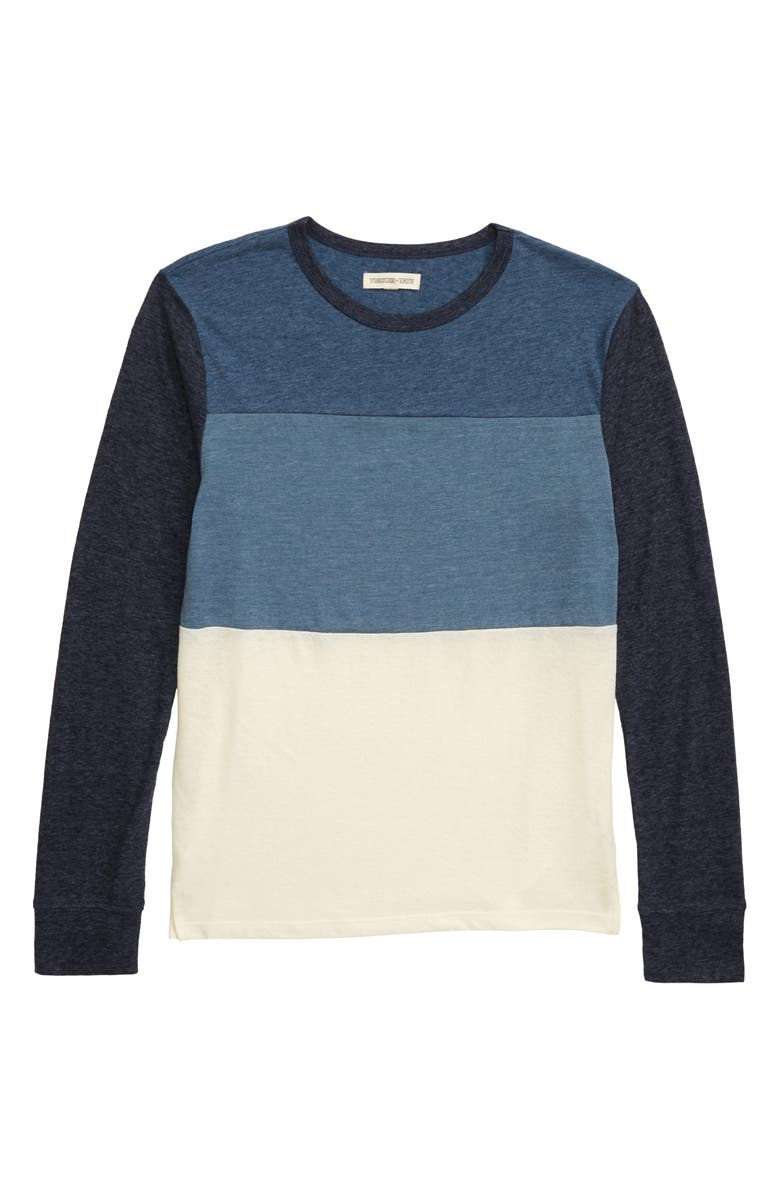 TUCKER + TATE Kick Off Colorblock T-Shirt, Main, color, NAVY CHARCOAL- BLUE