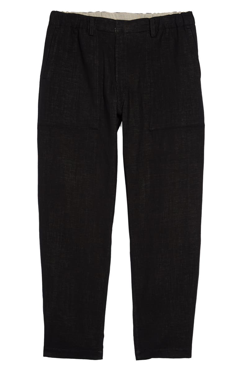 ISSEY MIYAKE Reversible Cotton & Linen Trousers, Main, color, BLACK