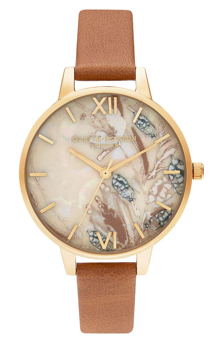 OLIVIA BURTON Abstract Florals Leather Strap Watch, 34mm, Main, color, HONEY TAN/ FLORAL/ GOLD