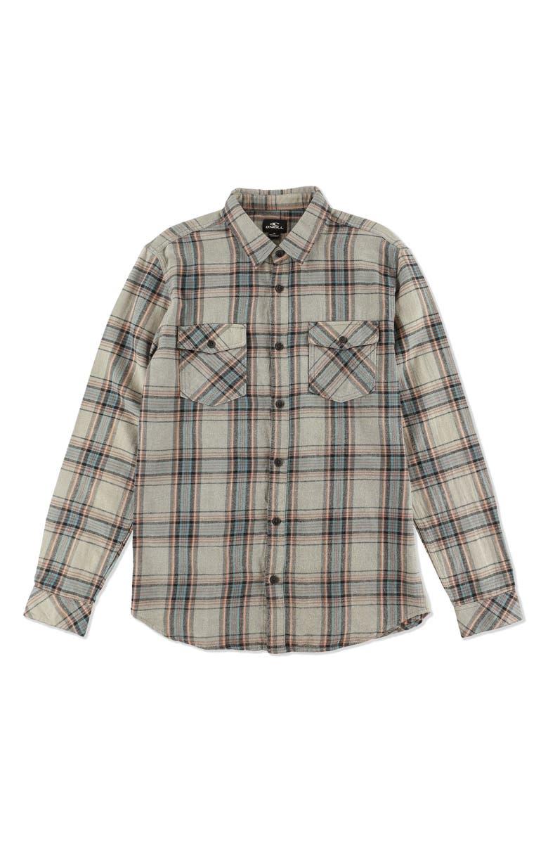 O'NEILL Highlands Flannel Shirt, Main, color, HEATHER LIGHT GREY