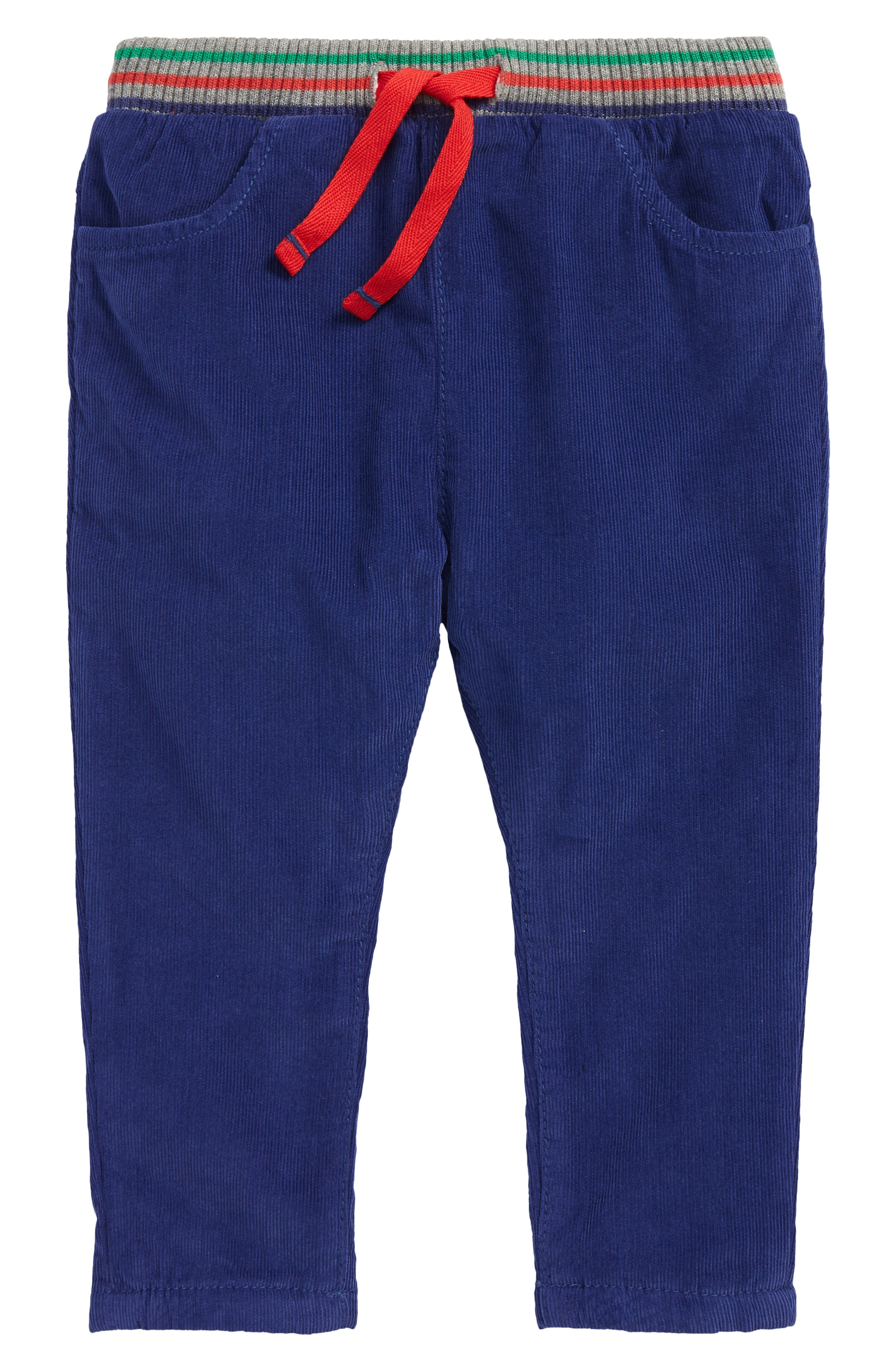 Comfy pull-on corduroy pants feature a sporty striped lining and stretchy drawstring waist. Style Name: Mini Boden Pull-On Corduroy Trousers (Baby). Style Number: 6097392. Available in stores.