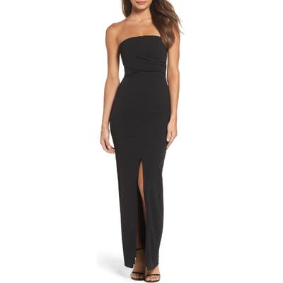 Lulus Own The Night Strapless Maxi Dress, Black