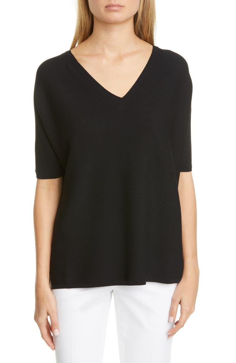 LAFAYETTE 148 NEW YORK Dolman Sleeve Sweater, Main, color, BLACK