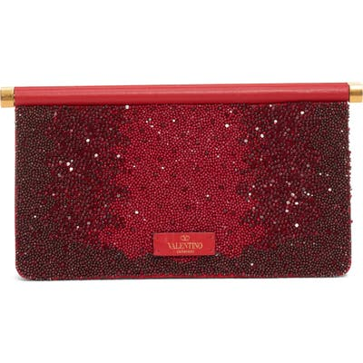 Valentino Garavani Small Carry Secrets Beaded Clutch - Red