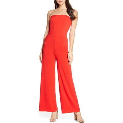 Fraiche By J Strapless Wide Leg Jumpsuit, Red
