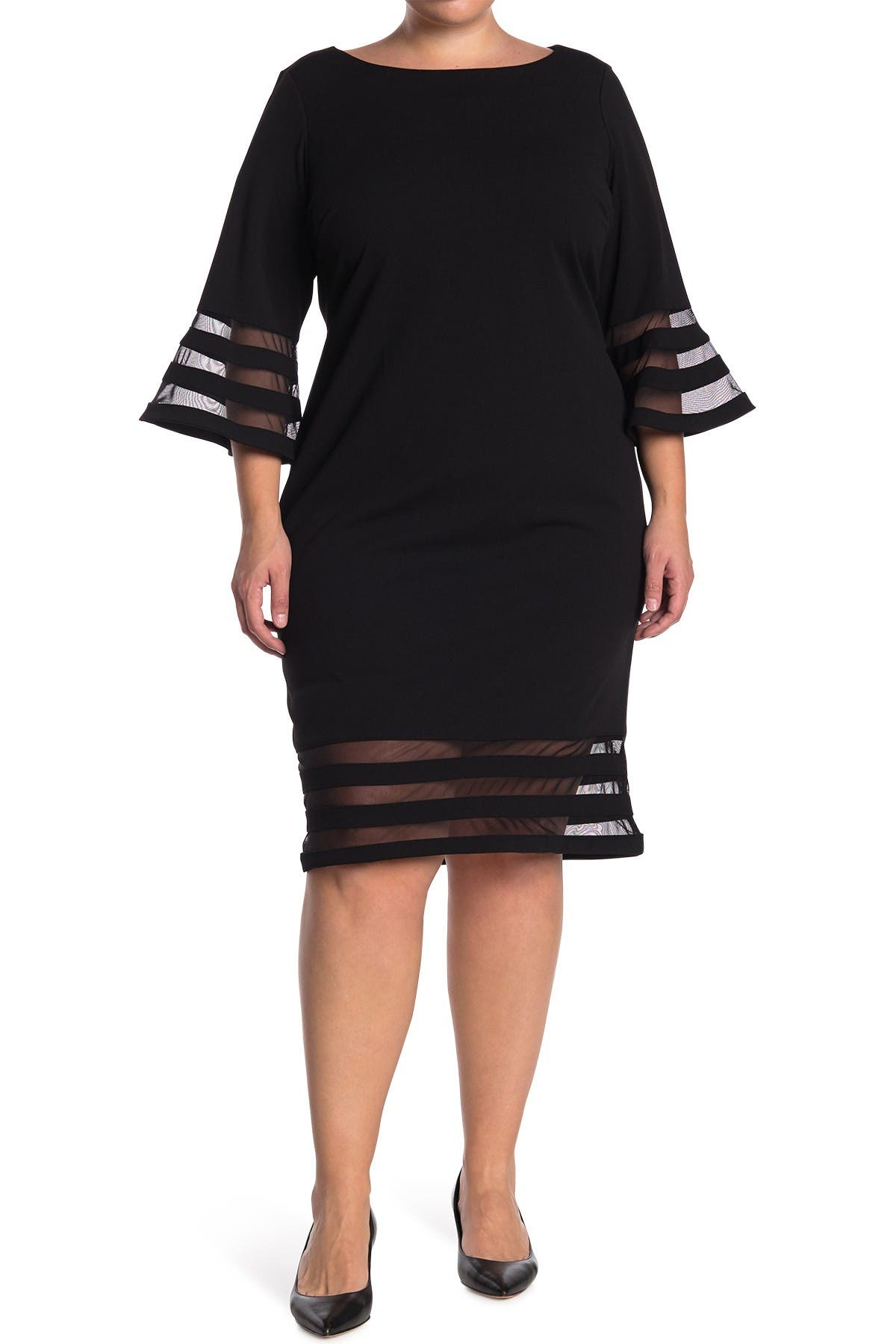 Image of Calvin Klein Illusion Stripe Bell Sleeve Sheath Dress