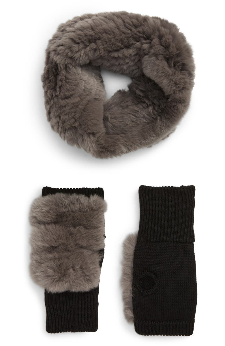 JOCELYN Genuine Rabbit Fur Cowl & Mitten Set, Main, color, GREY