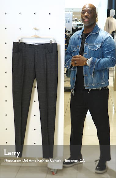 Flat Front Solid Stretch Wool Blend Trousers, sales video thumbnail