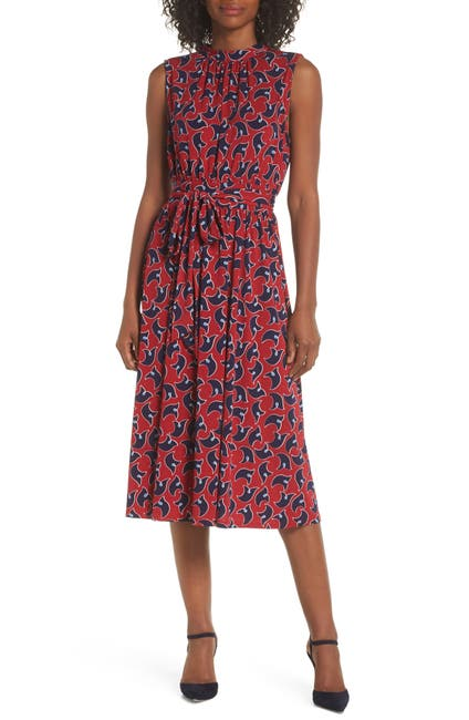 Image of Leota Mindy Mock Neck Tie Midi Dress
