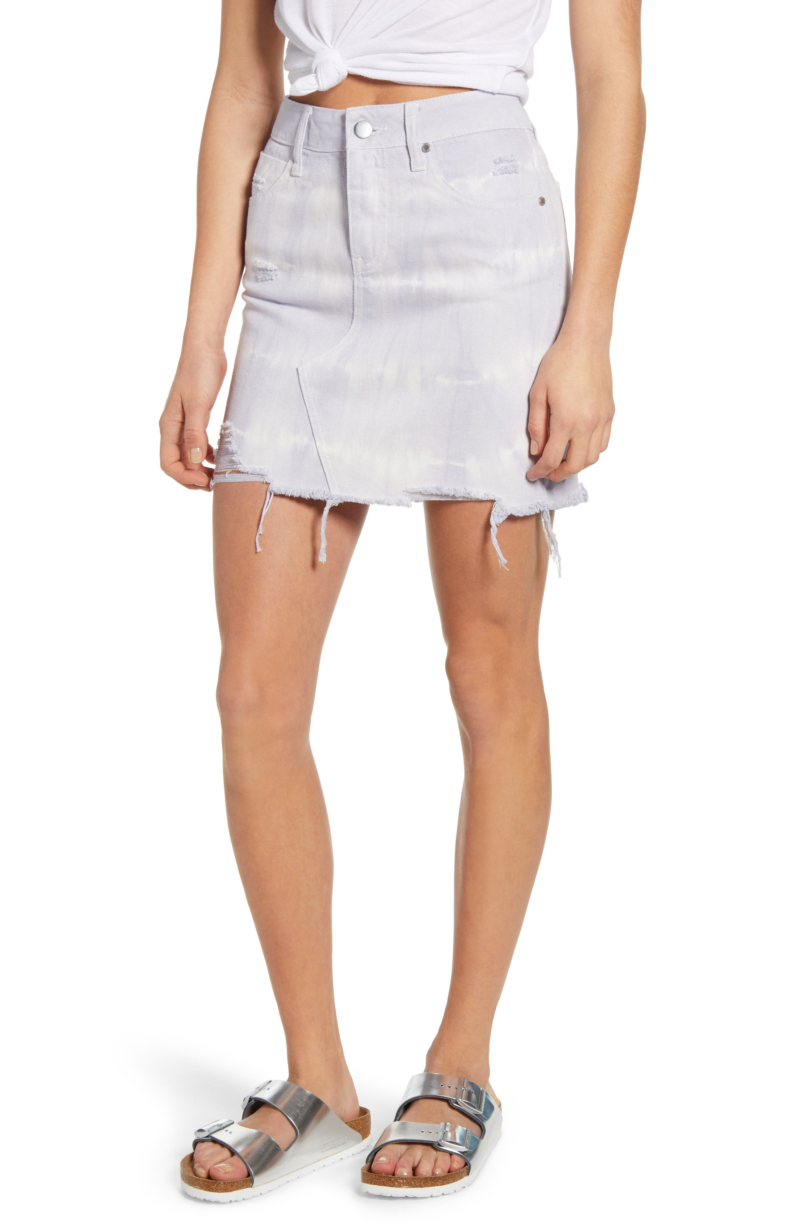 PTCL Tie Dye Distressed Raw Hem Denim Miniskirt | Nordstrom