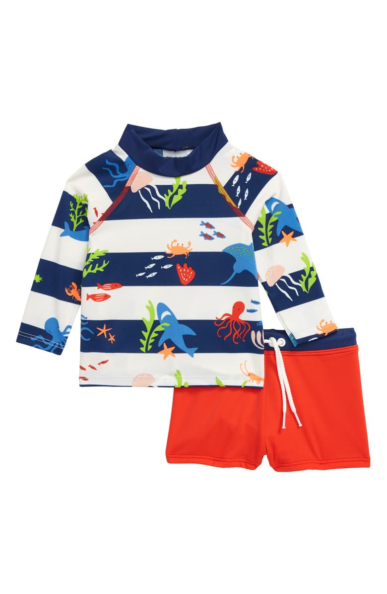 MINI BODEN Sunsafe Two-Piece Rashguard Swimsuit, Main, color, MULTI UNDER THE SEA