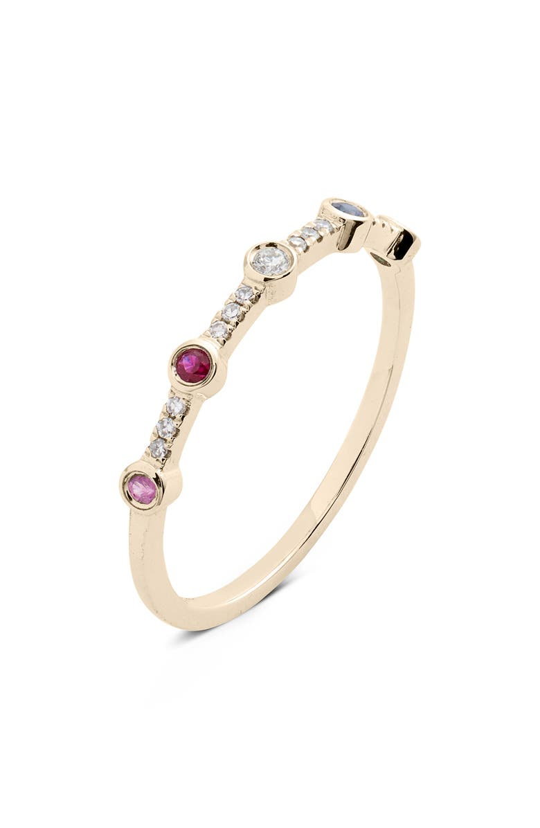 EF COLLECTION 5-Bezel Rainbow Diamond Stack Ring, Main, color, YELLOW GOLD