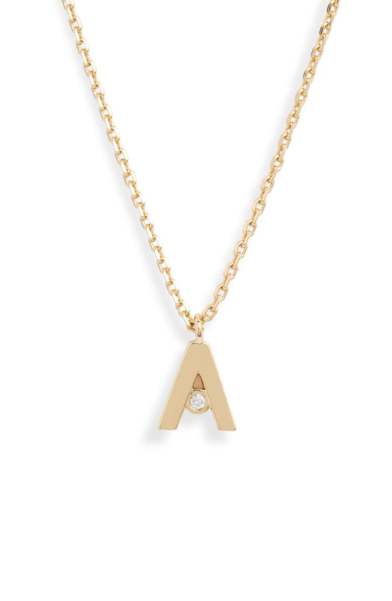KATE SPADE NEW YORK mini initial pendant necklace, Main, color, A-GOLD