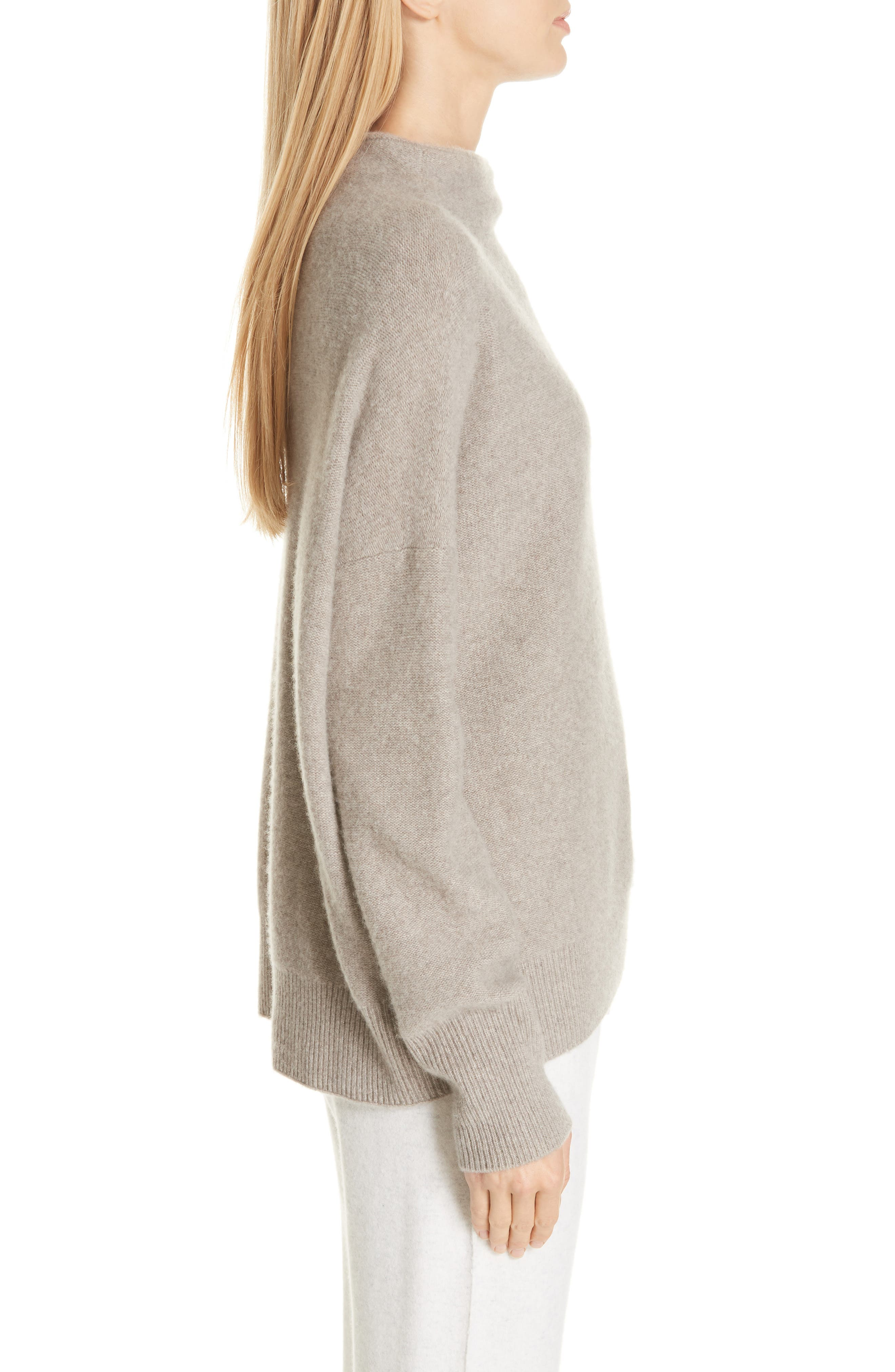 ,                             Funnel Neck Cashmere Sweater,                             Alternate thumbnail 3, color,                             201