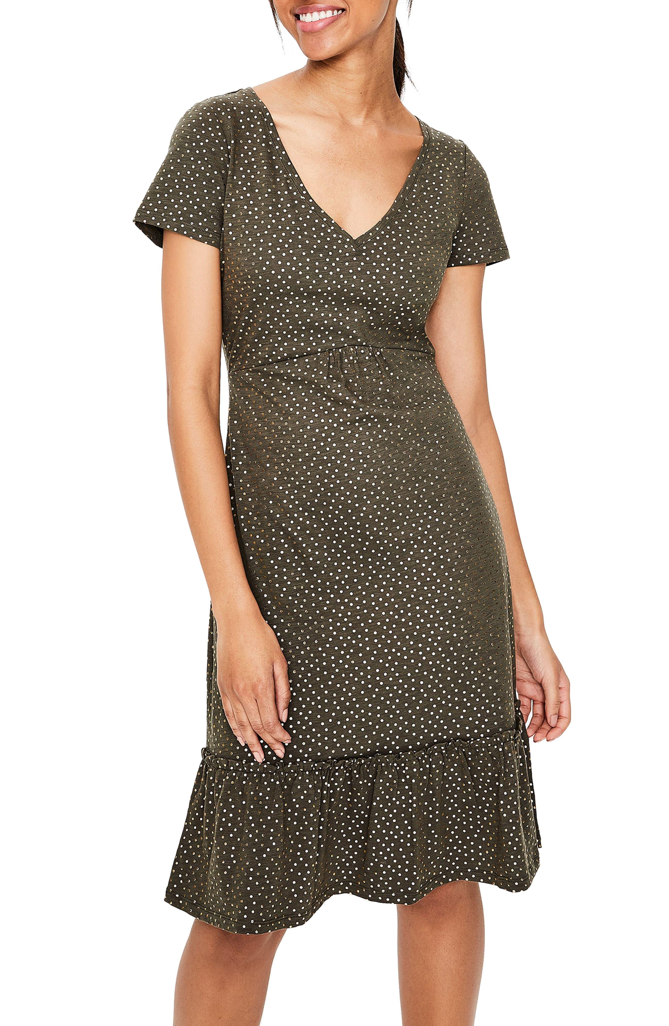 Petite Boden Melissa Foiled Dot Jersey Dress, Green