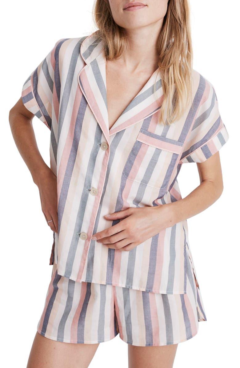 MADEWELL Bedtime Lonnie Stripe Pajama Top, Main, color, 650