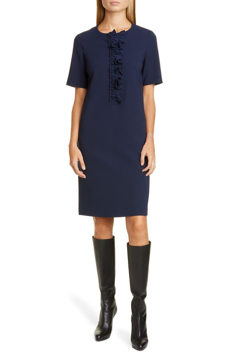 LAFAYETTE 148 NEW YORK Bradford Ruffle Placket Shift Dress, Main, color, ROYAL BLUE
