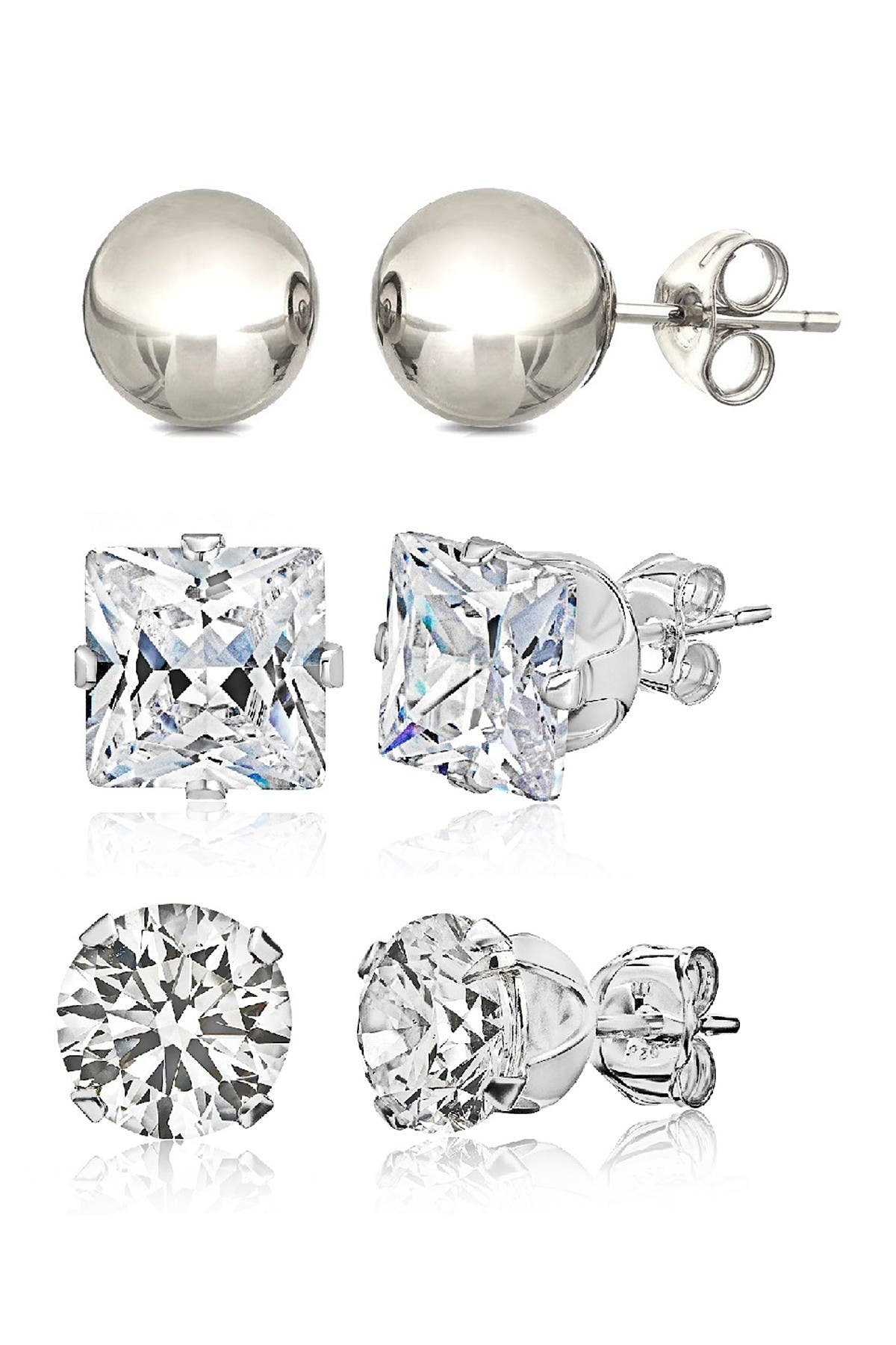 Image of Best Silver Inc. Sterling Silver & CZ Assorted Earring Set