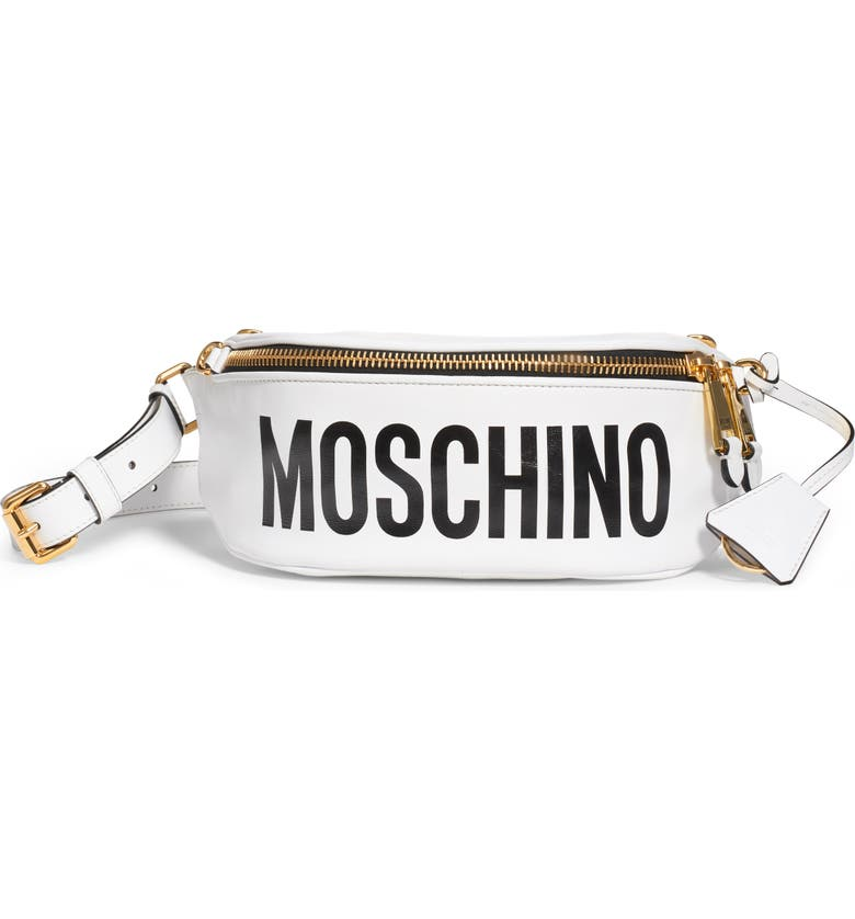 MOSCHINO Gladiator Teddy Leather Belt Bag, Main, color, FANTASY PRINT WHITE