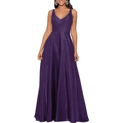 Xscape Shimmer Sleeveless Gown, Purple