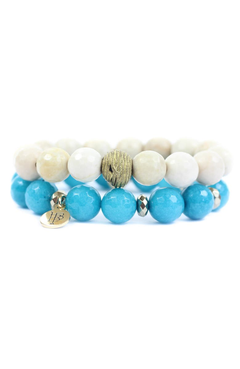 BOURBON AND BOWETIES Bourbon and Bowties Stretch Beaded Bracelet Set, Main, color, BONE/ BRASS AND TEAL/ GREY