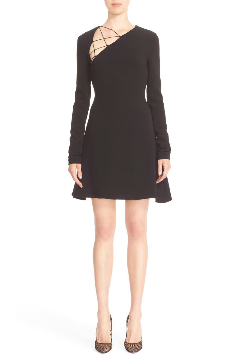 CUSHNIE et Ochs Stretch Cady Fit & Flare Dress, Main, color, 001