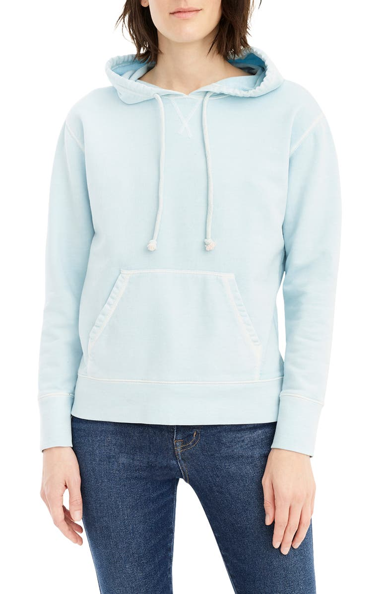 J.CREW Garment Dyed Hoodie, Main, color, SUNFADED BLUE
