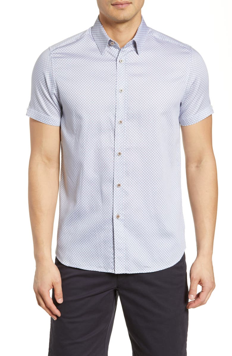 TED BAKER LONDON Scorpun Slim Fit Geo Print Shirt, Main, color, 410