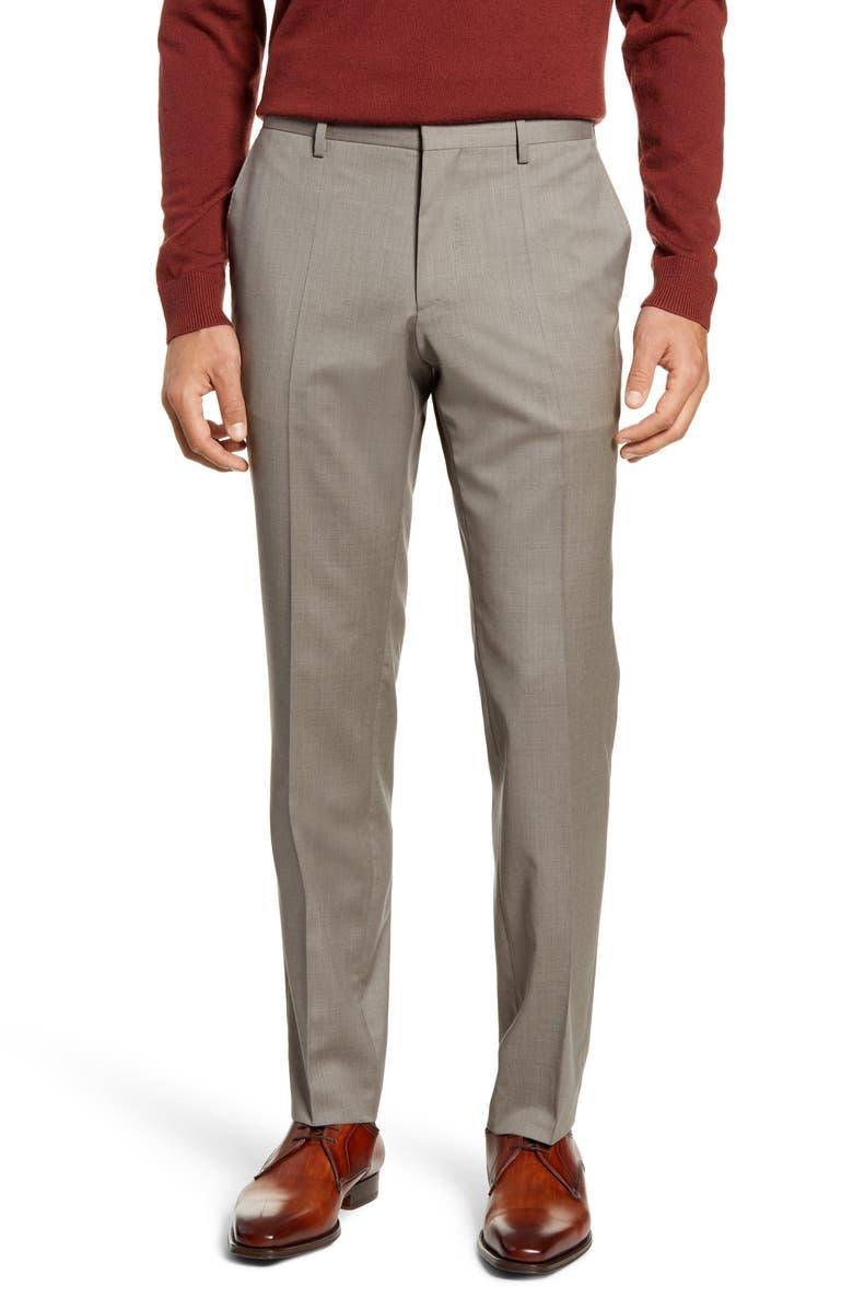 BOSS Genesis Flat Front Wool Dress Pants, Main, color, LIGHT BEIGE