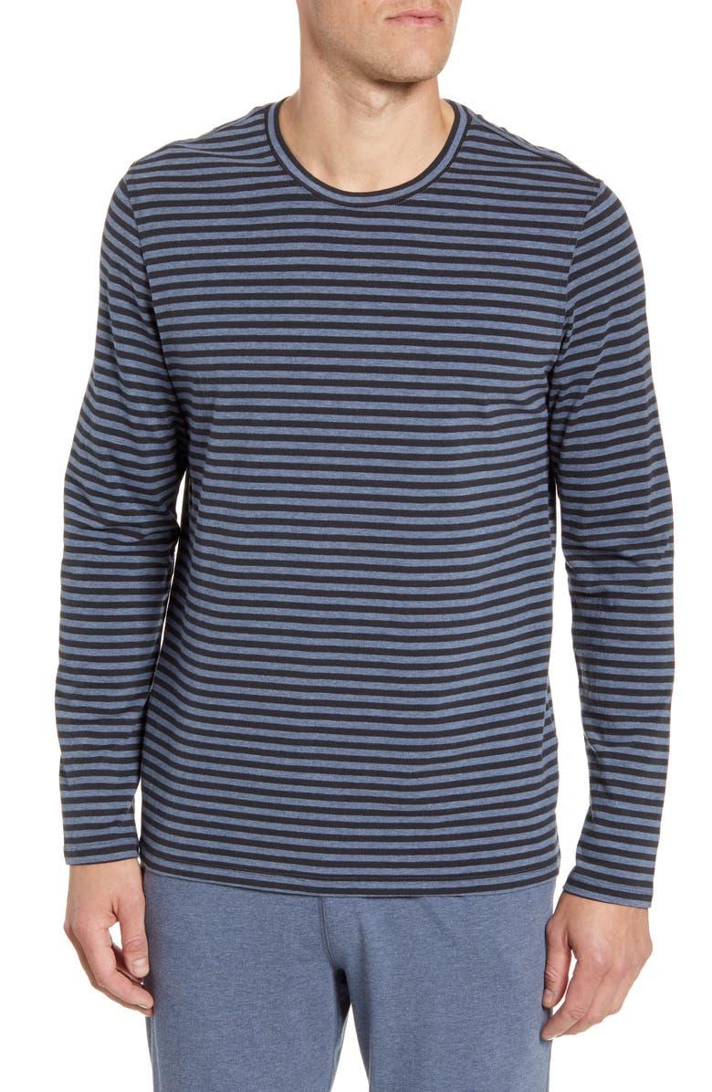 DANIEL BUCHLER Stripe Stretchy Cotton & Modal Long Sleeve Crewneck T-Shirt, Main, color, NAVY STRIPE