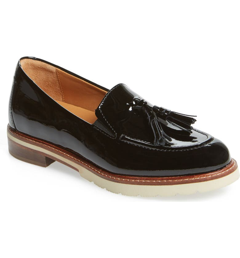 SAMUEL HUBBARD Tasseled Traveler Loafer, Main, color, BLACK PATENT LEATHER