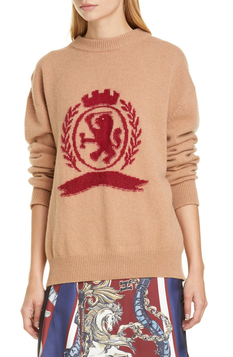 HILFIGER COLLECTION Needle Punch Crest Wool & Cashmere Sweater, Main, color, 700