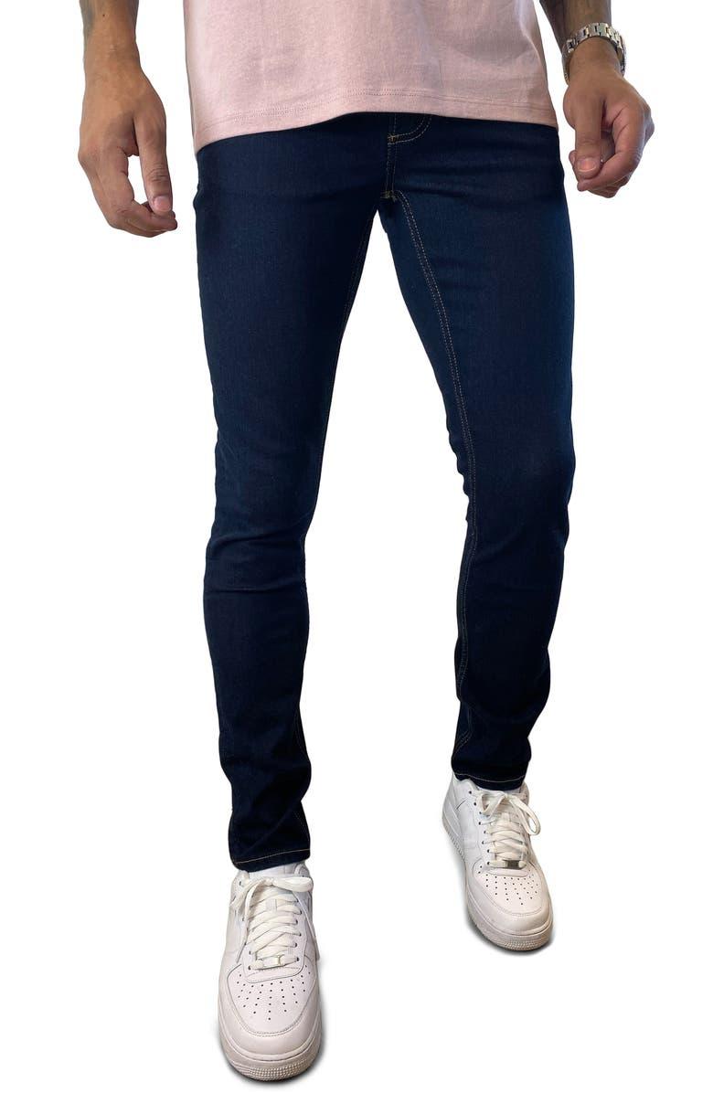 TOPMAN Raw Denim Stretch Skinny Jeans, Main, color, Blue