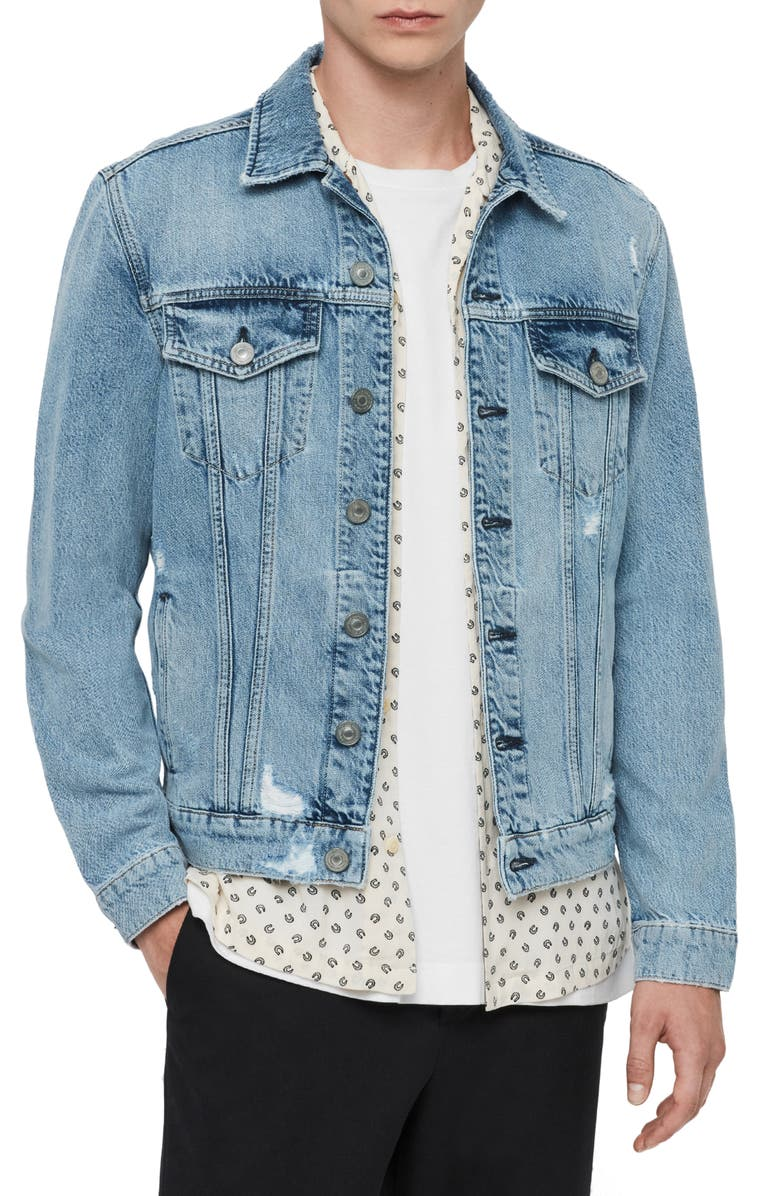 ALLSAINTS Idle Denim Jacket, Main, color, WASHED INDIGO
