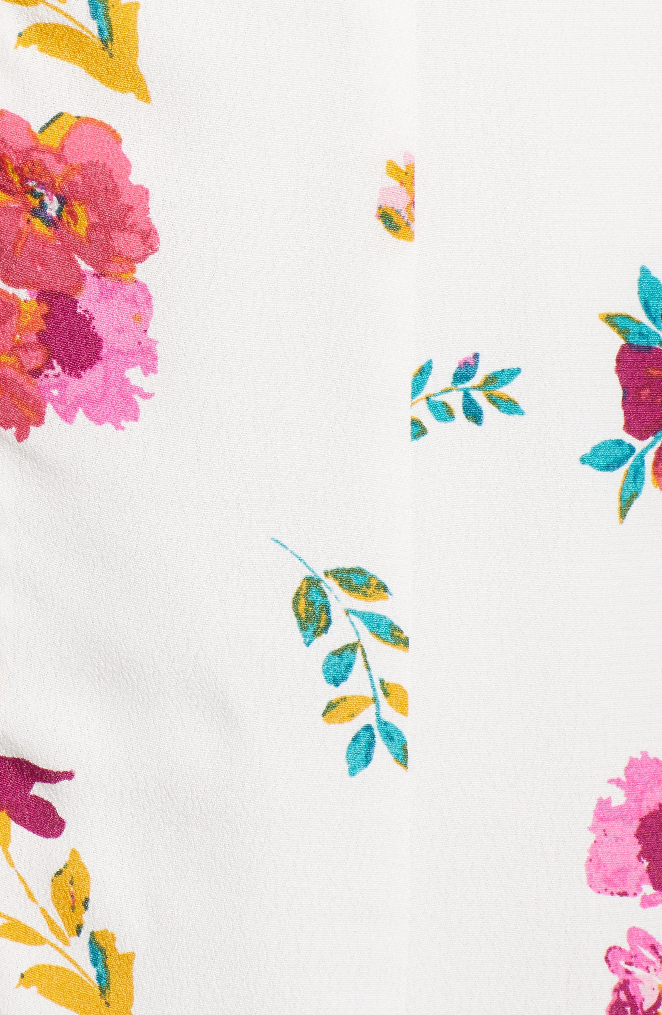 ,                             Floral Print Midi Dress,                             Alternate thumbnail 6, color,                             WHITE MULTI FLORAL