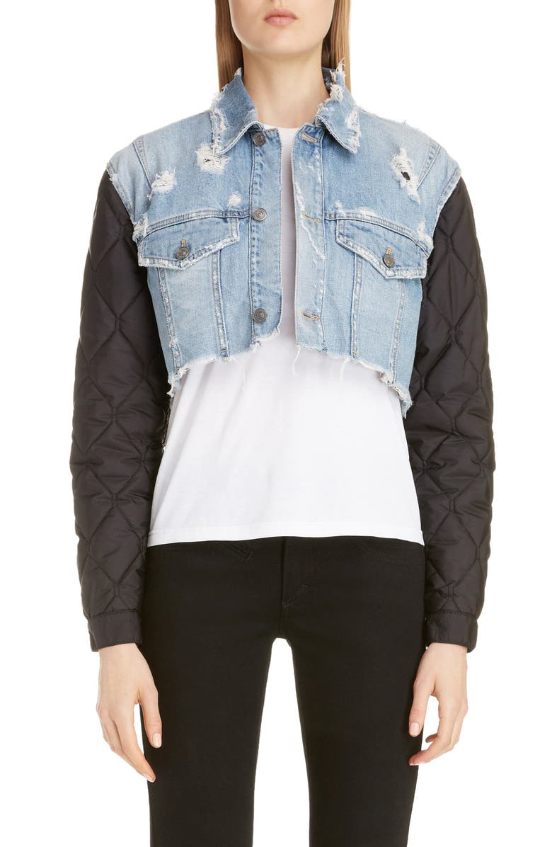 GIVENCHY Quilted Sleeve Destroyed Denim Jacket, Main, color, 001