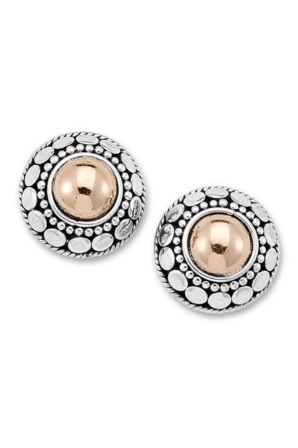 Image of Samuel B Jewelry Sterling Silver & 18K Yellow Gold Circle Halo Round Stud Earrings