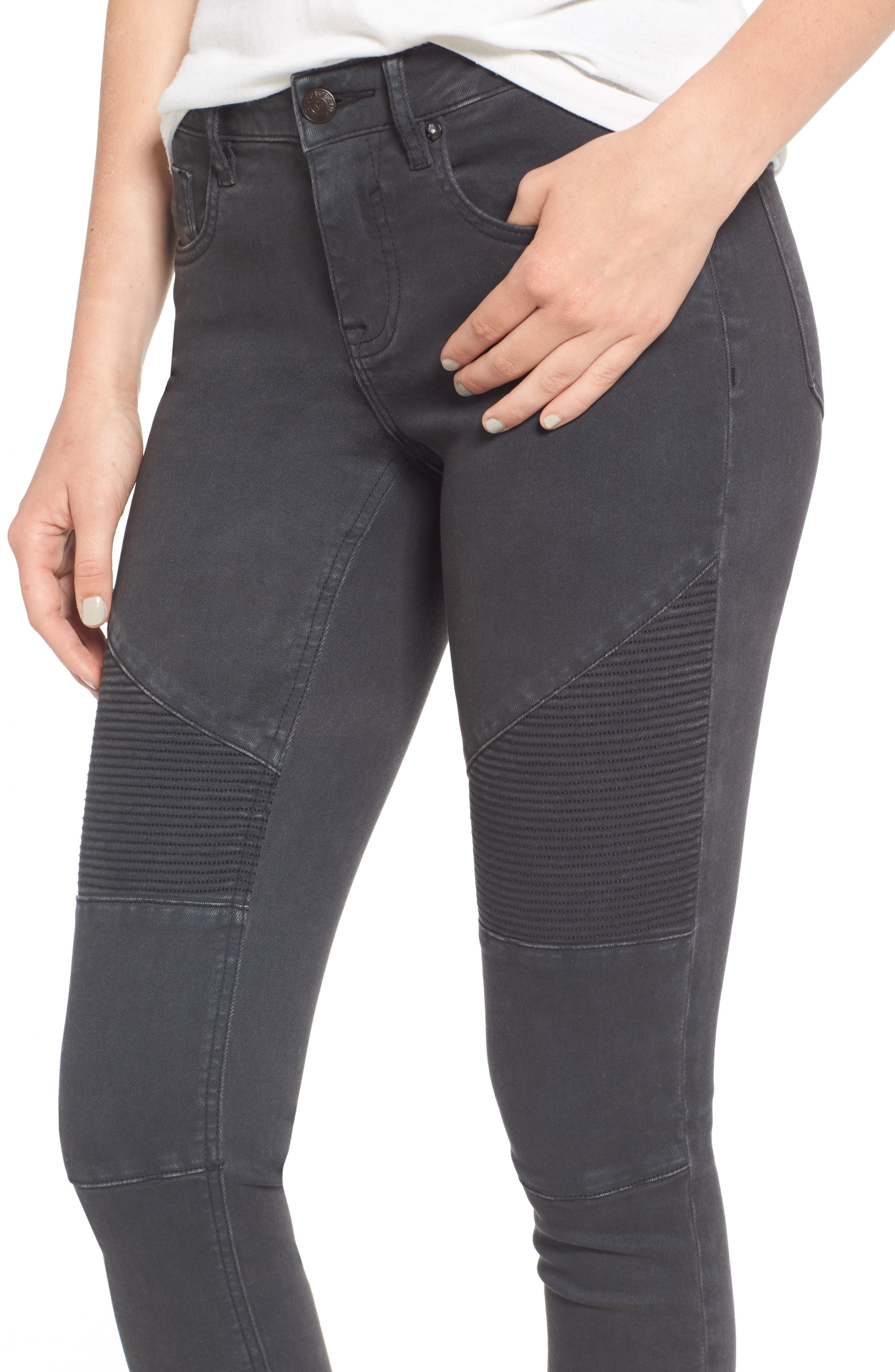 ,                             Moto Skinny Jeans,                             Alternate thumbnail 4, color,                             001