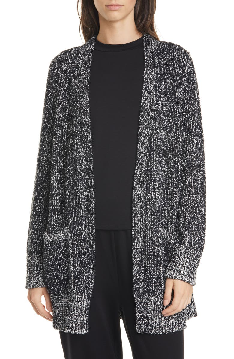 EILEEN FISHER Organic Cotton Long Cardigan, Main, color, BLACK/ SOFT WHITE