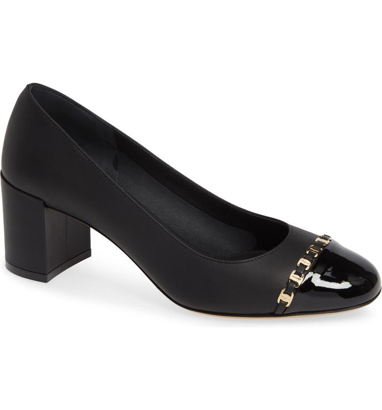 SALVATORE FERRAGAMO Avella Chainlink Trim Pump, Main, color, BLACK