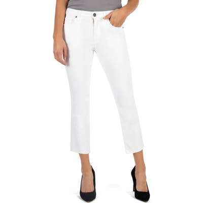 Kut From The Kloth Kelsey High Waist Raw Hem Ankle Flare Jeans, White